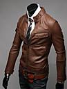Midoo hommes Brown PU secouer stand Collar Coat