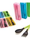 resa bärbar avtagbar plast ätpinnar + sked + gaffel set med förvaringsväska (slumpmässig färg)