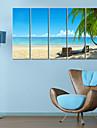 Sträckta kanvas Landskap Seaside Time Set av 5