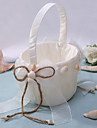 Chic Flower Basket In Ivory Satin With Shell Flower Girl Basket