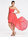 Lanting Asymmetrical / Short/Mini Chiffon Bridesmaid Dress - Watermelon Plus Sizes / Petite A-line / Princess Strapless / Sweetheart