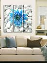 Reproduction transferee sur toile Art floral Fleur bleue dans les pierres Lot de 3