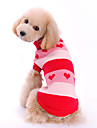 Chien Pull Rouge Vetements pour Chien Hiver Rayure