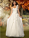 A-line/Princess Plus Sizes Wedding Dress - Ivory Floor-length One Shoulder Chiffon