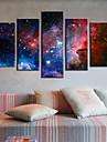 Sträckt Canvastryck konst abstrakt Galaxy Set av 5