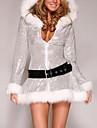 Costumes de Cosplay Costumes de pere noel Fete / Celebration Deguisement Halloween Argent / Blanc Robe / Ceinture Noel Feminin Velours