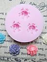 Tre hål Små Rose silikonform Fondant Formar Sugar Craft Verktyg Harts blommor Mould formar för kakor