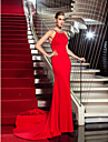 Formal Evening Dress - Ruby Plus Sizes Sheath/Column Halter Sweep/Brush Train Jersey