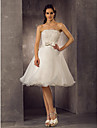 Lanting A-line/Princess Plus Sizes Wedding Dress - Ivory Knee-length Scalloped-Edge Organza/Lace