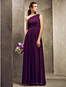 Lanting Bride Floor-length Chiffon Bridesmaid Dress - Mini Me Sheath / Column One Shoulder Plus Size / Petite with Side Draping