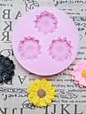 DIY tre hål Sunflower silikonform Fondant Formar Sugar Craft Verktyg Harts blommor Mould formar för kakor