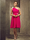 Knee-length Chiffon Bridesmaid Dress - Plus Size / Petite A-line One Shoulder