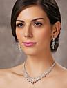bela tcheca strass banhado em liga de casamento conjunto de joias de noiva, incluindo colar e brincos