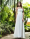 Sheath/Column Plus Sizes Wedding Dress - Ivory Floor-length Strapless Cotton