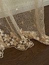 (Two Panels) Graceful Beige Solid Floral Embroidery Sheer Curtain