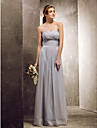 Lanting Bride® Floor-length Chiffon Bridesmaid Dress - Sheath / Column Sweetheart Plus Size / Petite with Draping / Criss Cross / Ruching