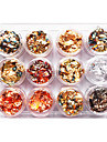 12PCS Mixed Color Foil Nail Art Decoration Golden Silver Colorful Folie
