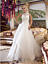 Lan Ting A-line/Princess Wedding Dress - Ivory Court Train Queen Anne Organza/Lace