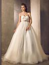 Lanting Bride Ball Gown Petite / Plus Sizes Wedding Dress-Court Train Sweetheart Tulle