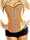 Satin Front Busk Closure And Lace-up Corset Shapewear With Glitter(More Colors) Sexy Lingerie Shaper