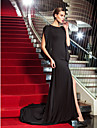 TS Couture® Formal Evening / Military Ball Dress - Black Plus Sizes / Petite Sheath/Column Scoop Sweep/Brush Train Jersey