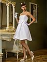 웨딩 드레스 - 화이트 A 라인/프린세스 무릎 길이 튜브탑 태피터 플러스 사이즈