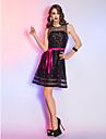 TS couture® 칵테일 파티 / 휴가 드레스 플러스 사이즈 / A 라인이 창틀 / 리본과 반짝이 짧은 / 미니 오간자을 / 특종 몸집이 작은