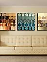 Sträckt Canvastryck konst Abstrakta cirklar Set med 3