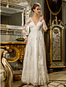 Lanting Bride® Sheath / Column Petite / Plus Sizes Wedding Dress - Chic & Modern / Reception Vintage Inspired / Open Back Floor-length
