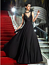 TS Couture Military Ball / Formal Evening Dress - Black Plus Sizes / Petite A-line V-neck Floor-length Jersey