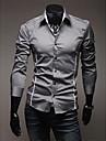 A & W Män s Gray Fit Cutting Fritid långärmad skjorta