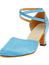Non Customizable Women\'s Dance Shoes Modern Satin Chunky Heel Blue