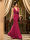 TS Couture Prom / Military Ball / Formal Evening Dress - Burgundy Plus Sizes / Petite Trumpet/Mermaid V-neck Floor-length Jersey