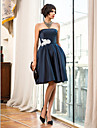 Homecoming Cocktail Party/Homecoming/Holiday Dress - Dark Navy A-line Strapless Knee-length Satin