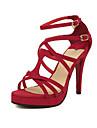 Women\'s Spring / Summer / Fall Open Toe Leatherette Dress Stiletto Heel Black / Blue / Red