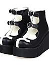 Chaussures Gothique Lolita Semelle compensee Chaussures Mosaique 8 CM Blanc / Noir Pour Femme Cuir PU/Cuir polyurethane