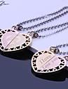 Couples de cadeaux personnalises en acier inoxydable grave bijoux collier pendentif Lovers avec 60cm chaine