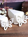 White Cake Favor Boxes with Butterfly - Set of 10
