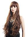Alta Qualidade de 20% do cabelo humano e 80% de fibra resistente ao calor do cabelo ondulado Peruca Capless Long (louro)