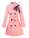 Women\'s Double-breasted Trench Coat with Polka Dots Bownot