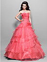 Prom / Formal Evening / Quinceanera / Sweet 16 Dress - Watermelon Plus Sizes / Petite Princess / Ball Gown Strapless Floor-length Organza