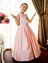 Lanting Bride A-line / Princess Floor-length Flower Girl Dress - Satin Sleeveless Jewel with Flower(s) / Sash / Ribbon