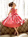 A-line / Princess Tea-length Flower Girl Dress - Satin Short Sleeve Jewel with Bow(s)