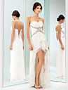 TS Couture® Cocktail Party / Holiday Dress - Ivory Plus Sizes / Petite Sheath/Column Sweetheart Asymmetrical Chiffon