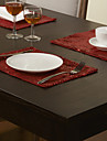 Rouge Polyester Rectangulaire Sets de table