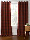 land två paneler pläd / check röd sovrum bomull panelgardiner draperier
