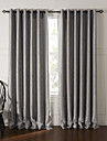 (Two Panels) Modern Fancy Silver Solid Floral Embossed Blackout Curtain