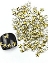 300st 3D gyllene femuddig stjärna Alloy nagel konst gyllene & Silver Dekorationer