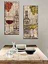 Stretched Canvas Art Stilleben vin och vinglas Set om 2