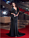 Formal Evening Dress - Black Trumpet/Mermaid V-neck Sweep/Brush Train Stretch Satin